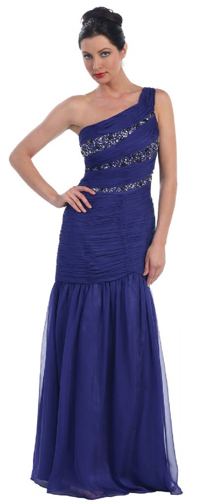 One Shoulder Ruched Bodice Mermaid Formal Dress